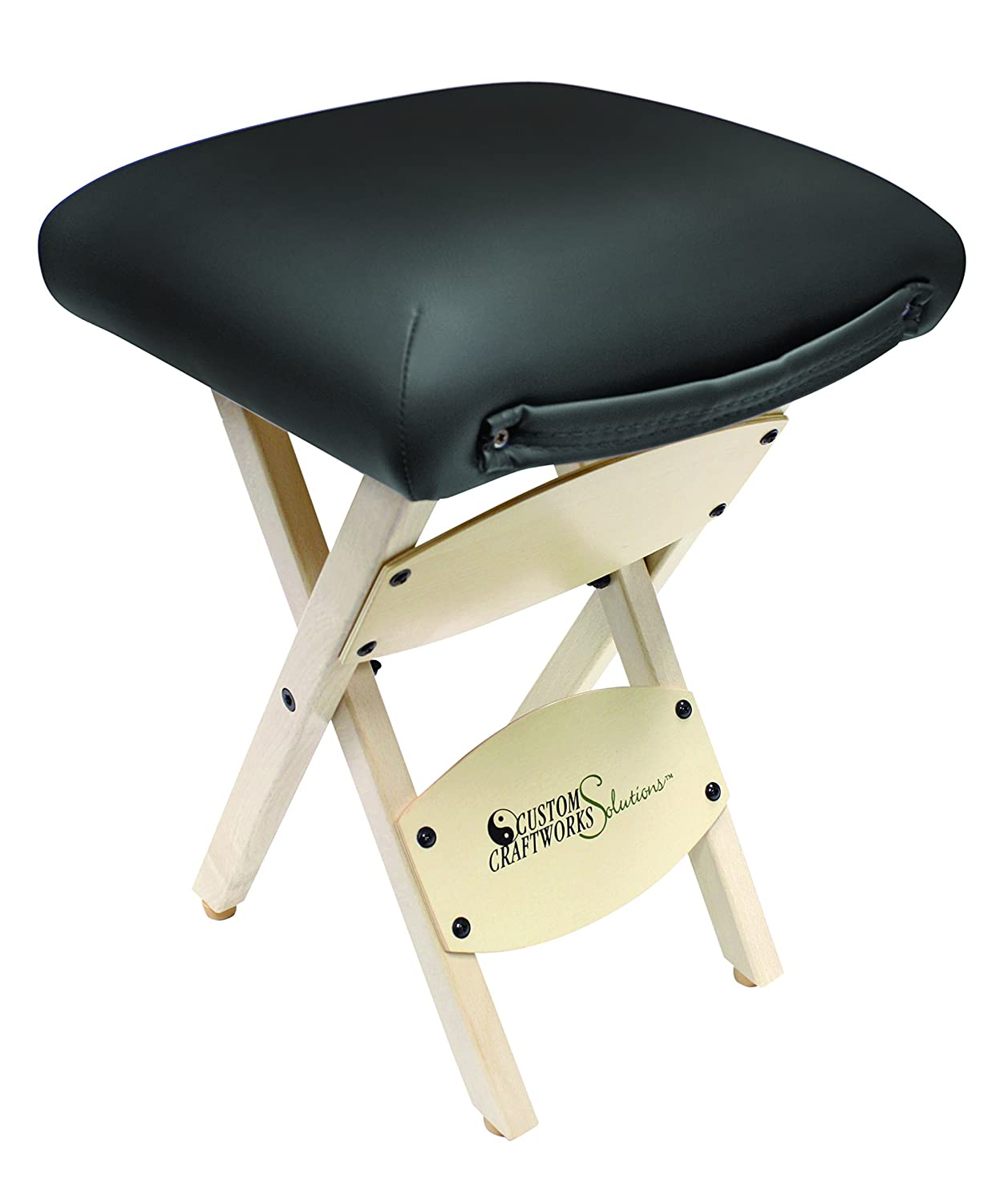 Custom Craftworks Wooden Folding Stool with PU Cushions Black I9311 - PU - Black