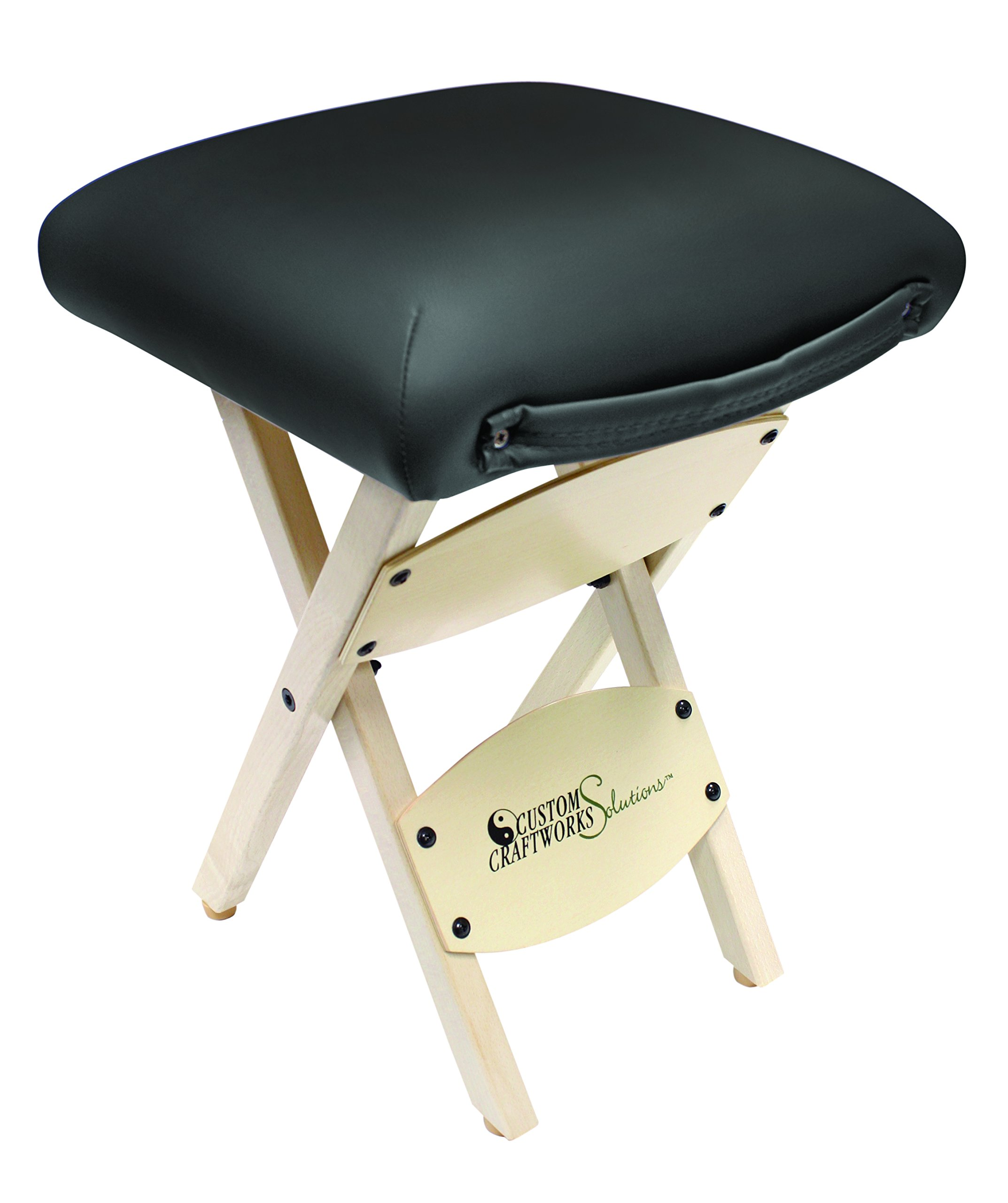 Custom Craftworks Wooden Folding Stool with PU Cushions, Black