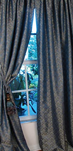 Manor Luxe 48-Inch by 96-Inch Bombay Rod Pocket Lined Curtain Panel, Blue Gold