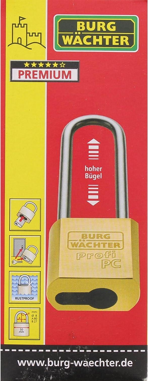 Cadenas /à Anse Haute sans Cylindre 8 mm dEpaisseur de Anse 116 PC 50 HB 80 Niro BURG-W/ÄCHTER pour Demi-cylindr/é