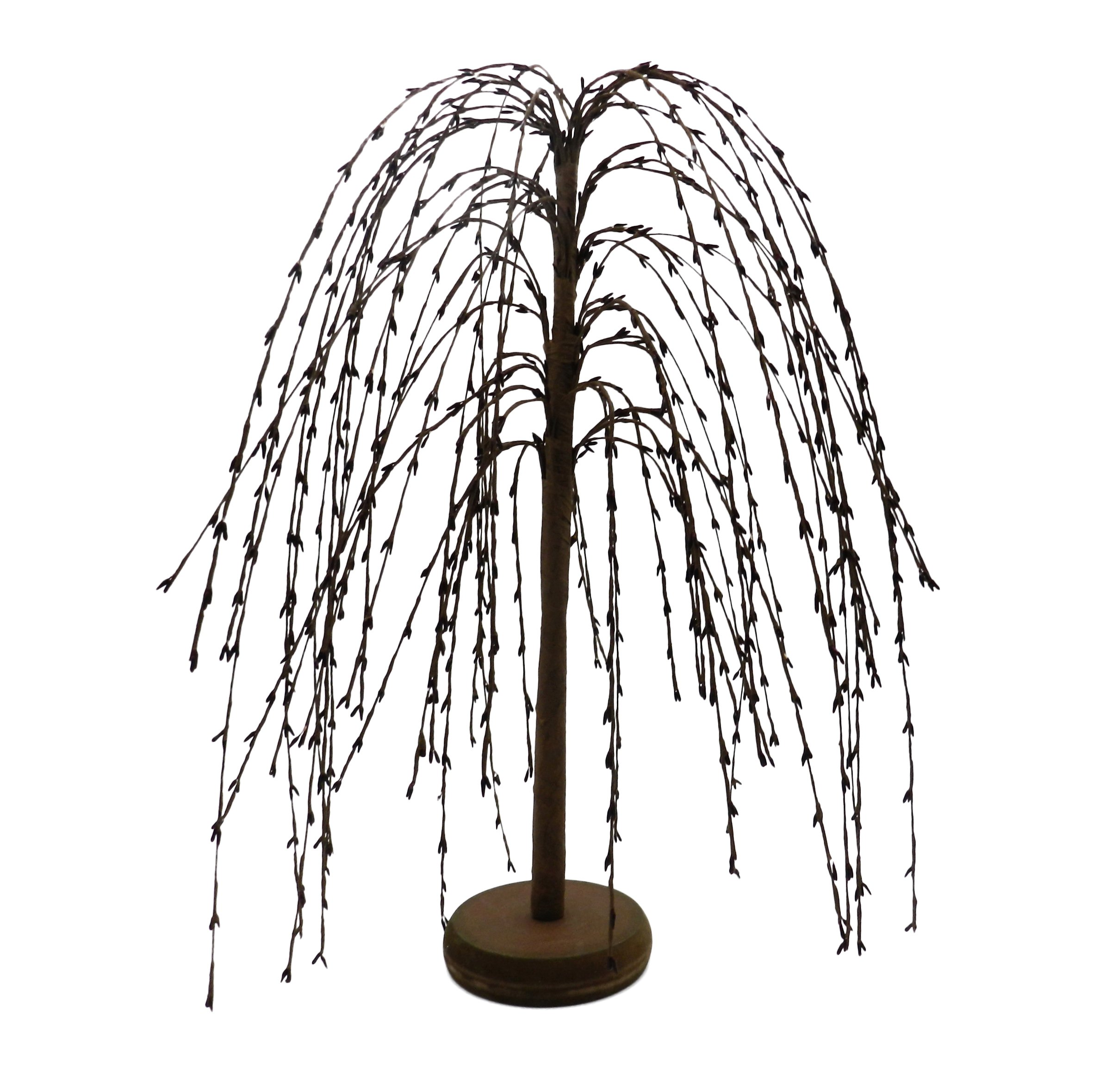 CVHOMEDECO. Burgundy Pip Berry Weeping Willow Tree Primitive Vintage Decoration Art, 18-Inch