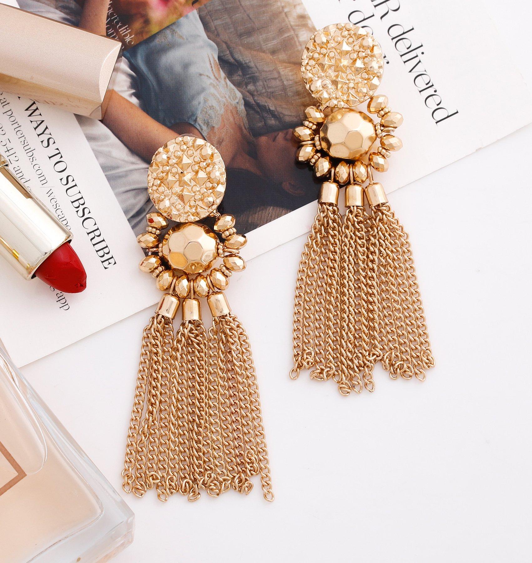 Bohemian Statement Tassel Chandelier Drop Dangle Earrings with Cassandra Button Stud (gold) by LPON (Image #4)
