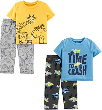 Simple Joys by Carter's 4-Piece Pajama Set (Short Sleeve Poly Top & Fleece Bottom) Niños, Pack de 4