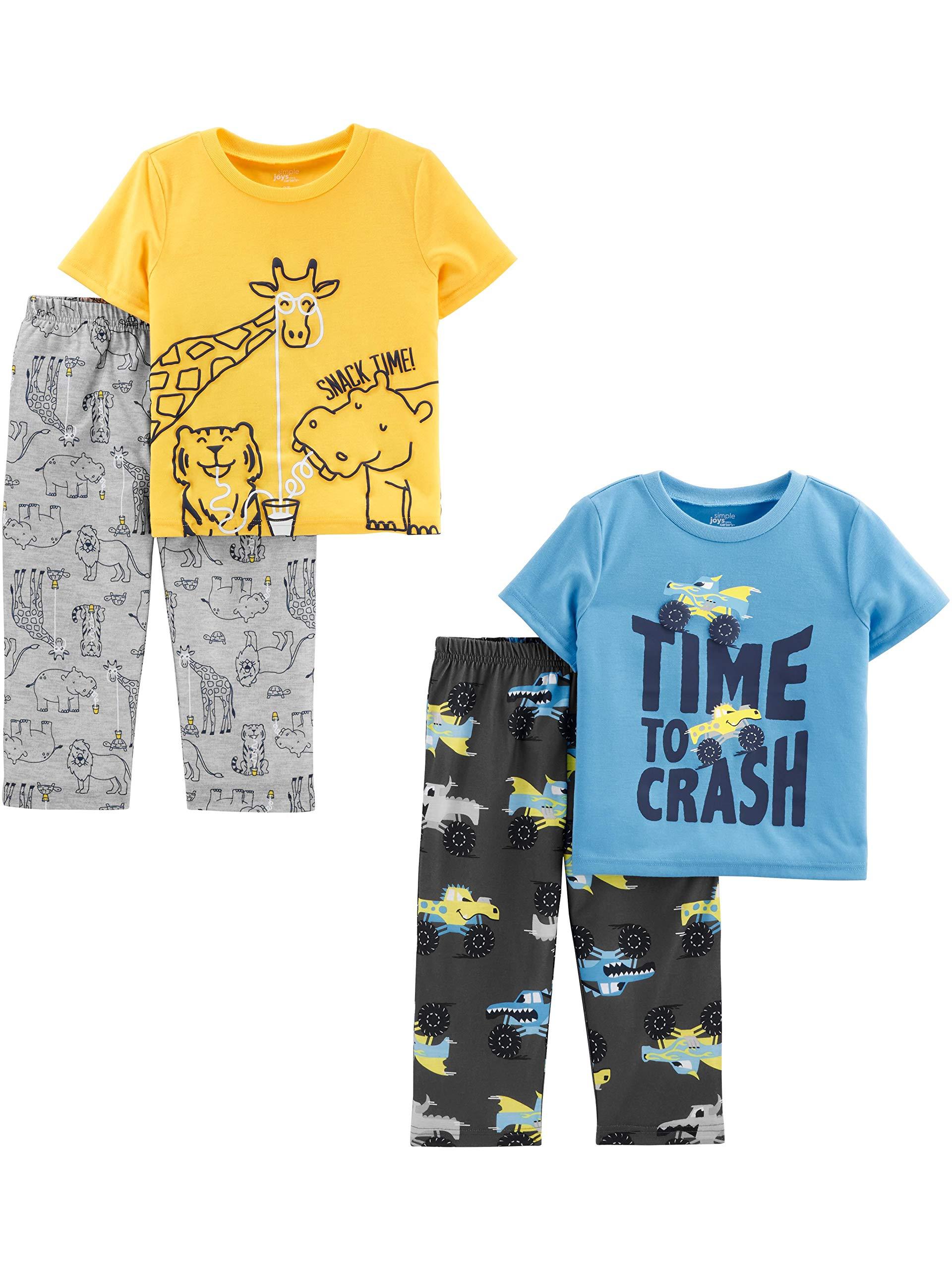 Simple Joys by Carter's Boys' Toddler 4-Piece Fleece Pajama Set, Animals Green/Trucks, 3T