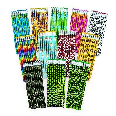 Fun Express Pencil Assortment (108 Pencils) Classroom Supplies & Incentives, Valentine Giveaways, Party Favors, Stocking Stuffers, Bulk Arts & Crafts: Toys & Games
