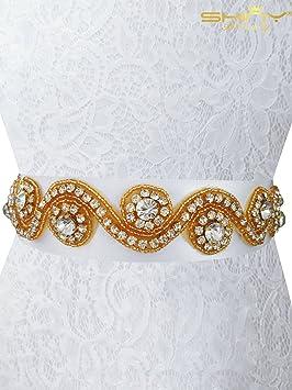 Shinybeauty Strass Applique Mariage Ceinture Strass Perles appliques Bridal  Ceinture Ra030, doré, width is 763275f6918