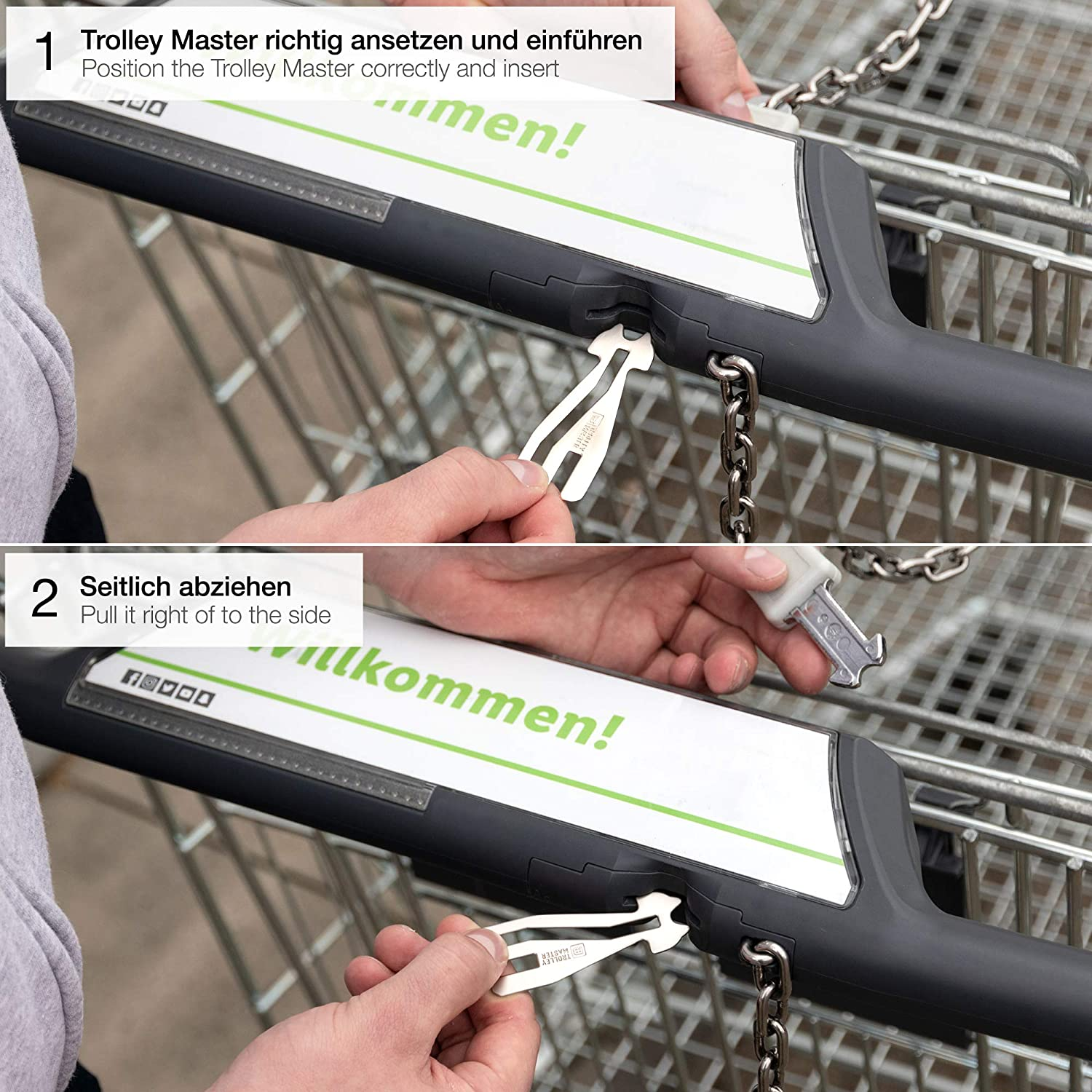 Fabach Trolley Master Shopping Trolley Release for All Shopping Cart Opens Front Loader and Side Drawer Systems Removable Shopping Trolley Token Metal Key Ring