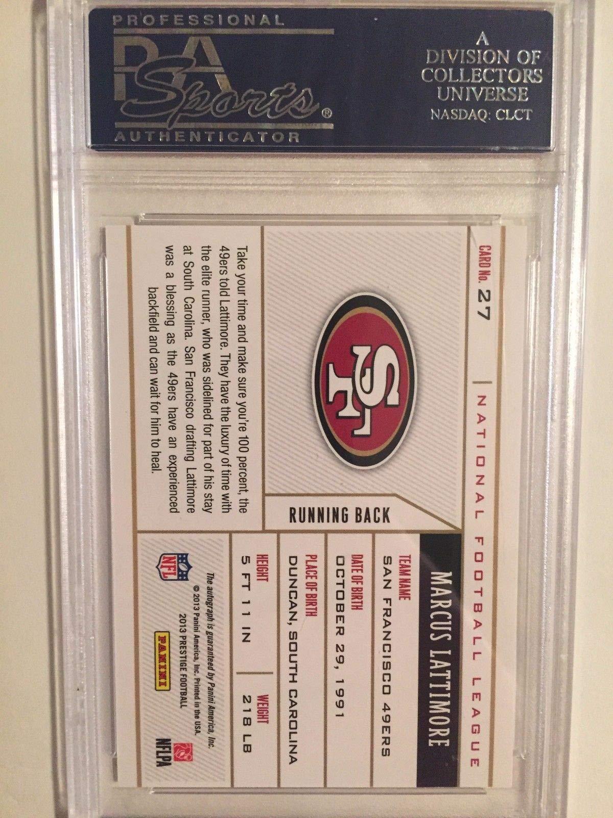 Marcus Lattimore Autographed 2013 Panini Prestige NFL Draft Tickets Rc PSA 8