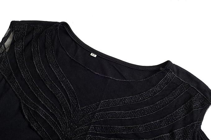 Beauty7 Camisas Mujeres Atada a la Cintura Mangas Larga AsimšŠtrico Cuello Hueco Vestido Verano Primavera Blusas T-Shirt Casual Tops Parte Superior ...