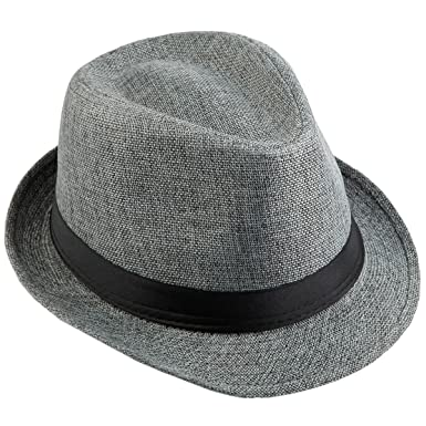 4c9bf064 KYEYGWO Panama Fedora Hats for Men Woman, Braid Straw Short Brim Jazz Cap Trilby  Hat