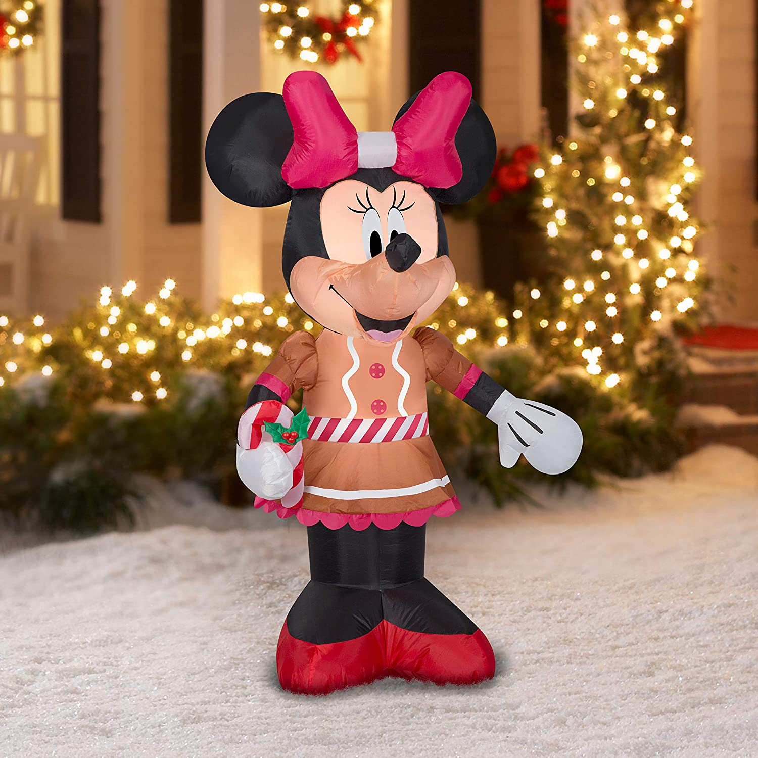 Disney Minnie Mouse Christmas Inflatable Airblown Gemmy Industries 5 FT Lights Up