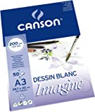 Canson Imagine - Bloc papel de dibujo, A3 - 29.7 x 42 cm, color blanco puro