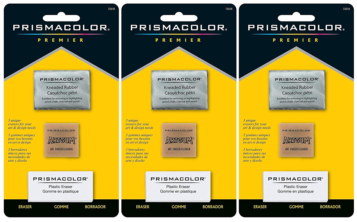 Sanford 2-PACK - Prismacolor Premier Eraser Set - Kneaded, ArtGum and Plastic Erasers, Set of 3 Art Gum 4336950582