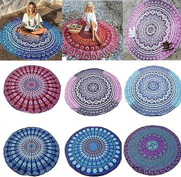Toalla India Redonda única de algodón para Playa, Picnic, Playa, Toalla de Playa, Esterilla de Yoga: Amazon.es: Equipaje