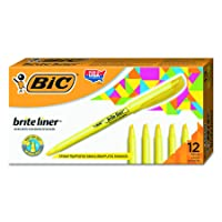 BIC Brite Liner Highlighter Chisel Tip Yellow 12-Count Deals