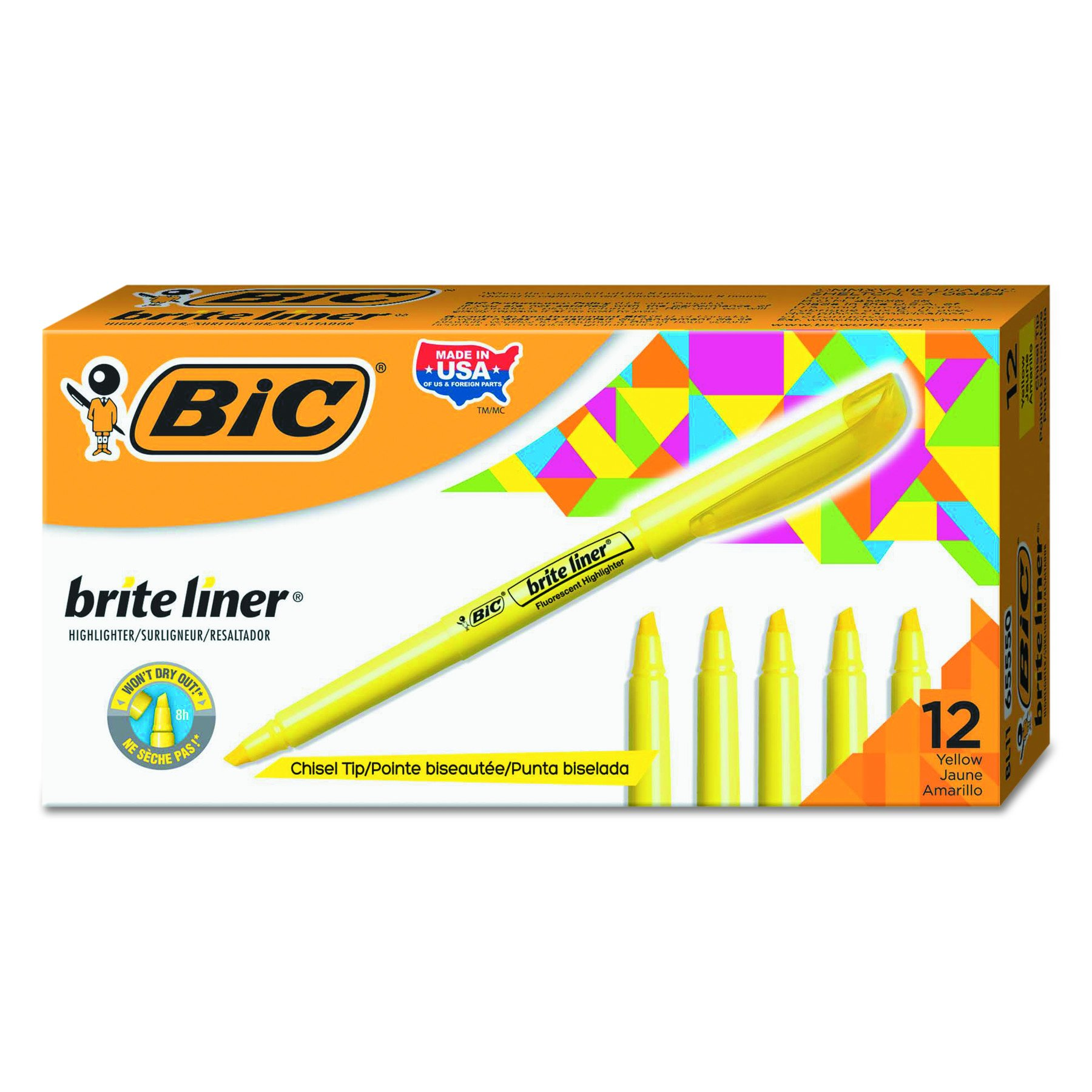 BIC Brite Liner Highlighter, Chisel Tip, Yellow, 12-Count by BIC (Image #1)