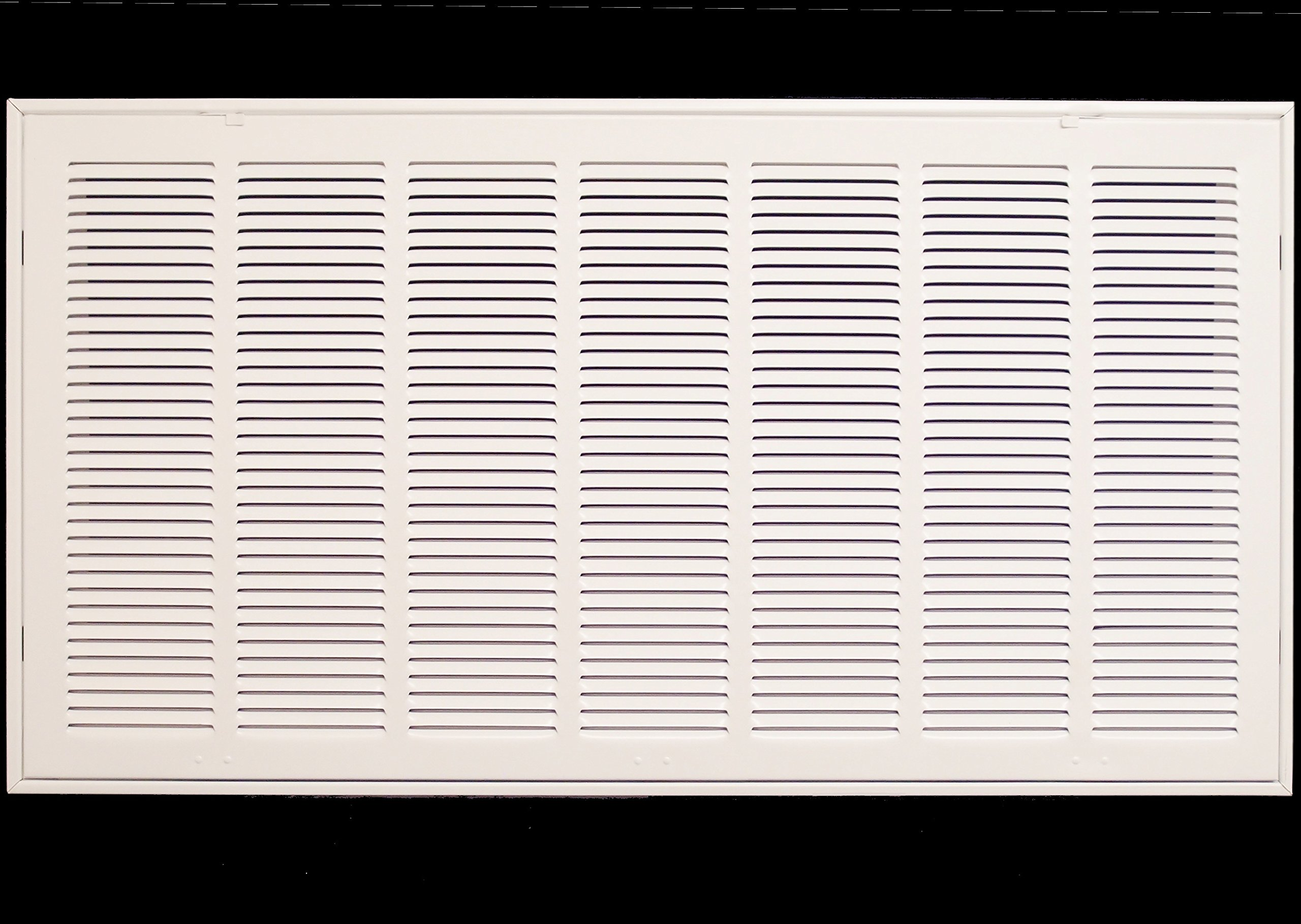 36'' X 30 Steel Return Air Filter Grille for 1'' Filter - Fixed Hinged - ceiling Recommended - HVAC DUCT COVER - Flat Stamped Face - White [Outer Dimensions: 38.5''w X 32.5''h]
