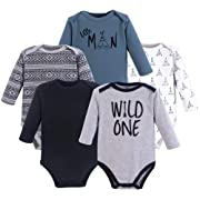 Yoga Sprout Cotton Bodysuit, 5 Pack, Wild One, 3-6 Months