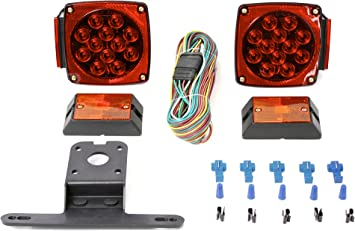 MAXXHAUL 70205 12V All LED Submersible Trailer Light Kit , Red