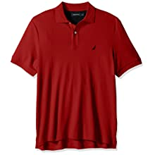NAUTICA Men's Classic Fit Short Sleeve Solid Soft Cotton Polo Shirt, NAUTICA Red, Large
