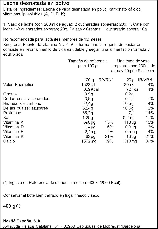 Nestlé Sveltesse - Leche desnatada en Polvo - Bote 3 x 400 g ...
