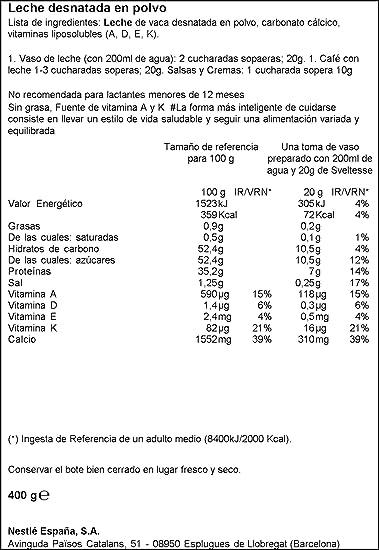 Nestlé Sveltesse - Leche desnatada en Polvo - Bote 3 x 400 g