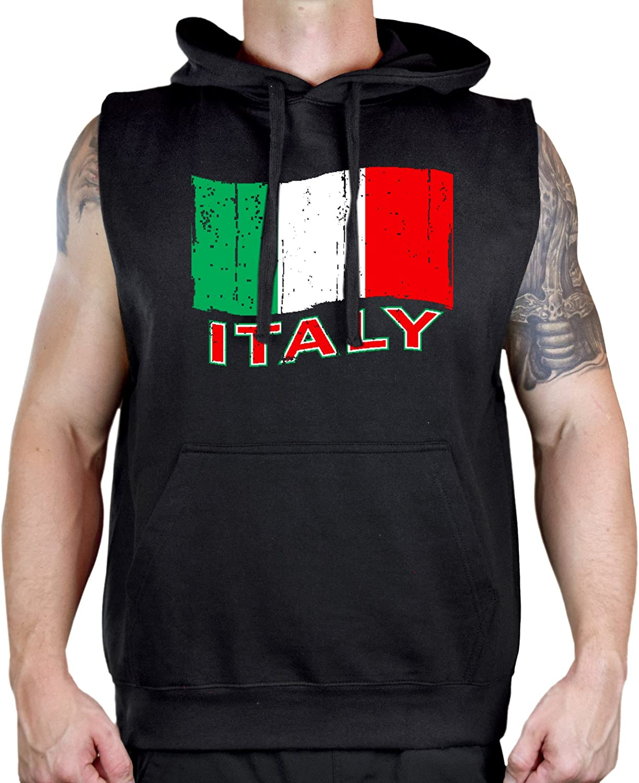 Interstate Apparel Mens Grunge Italy Flag Black Sleeveless Vest Hoodie
