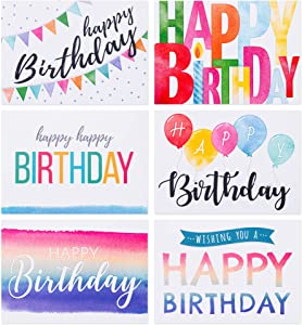 Spark Ink Birthday Cards Assortment (50 pcs). Happy Birthday Greeting Card for Kids & Adults. Bulk Pack Includes 4 X 6 inch Unique Bday Cards & Envelopes