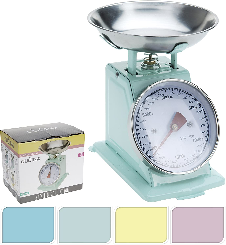 Küchenwaage Waage retro bis 3000g rosa blau gelb mint Metall ...