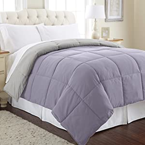 Amrapur Overseas Goose Down Alternative Microfiber Quilted Reversible Comforter/Duvet Insert - Ultra Soft Hypoallergenic Bedding - Medium Warmth for All Seasons - [Full/Queen, Amethyst/Silver]