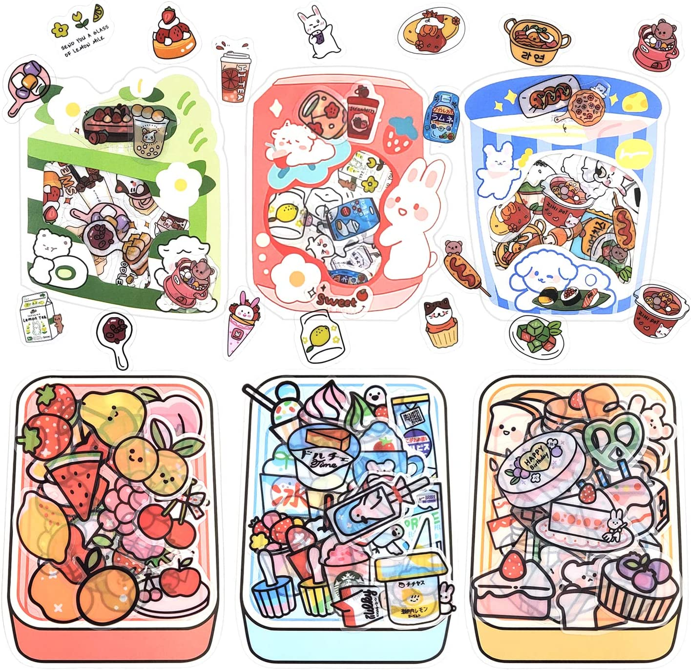 255 Sheets Scrapbooking Stickers for Adults Cute Stickers Kawaii Snack Planner Sticker Decoration Sticker with Delicious Food Pattern for Scrapbooking Diary Album Journals Cards DIY Arts (Yummy)