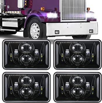Compatible with H4651 H4652 H4656 H4666 H6545 for Peterbil Kenworth Freightinger Ford Probe Oldsmobile Cutlass 4x6 inch LED Headlights Rectangular Lights Set Black