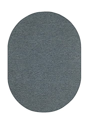 Ambiant Saturn Collection Pet Friendly Indoor Outdoor Area Rug Petrol Blue – 5 x8 Oval Non Slip Backing