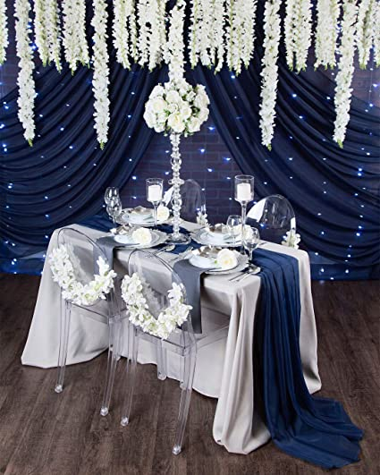 Queendream Chiffon Table Runners Navy Blue 27 X 120 Inch Elegant Navy Blue Table Runner 5 Pieces Of Navy Blue Party Supplies Fabric Decorations For