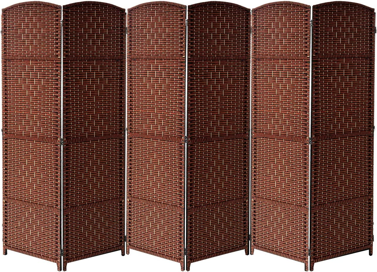 Sorbus Room Divider Privacy Screen, 6 ft. Tall Extra Wide Foldable Panel Partition Wall Divider, Double Hinged Room Dividers and Folding Privacy Screens, Diamond Double-Weaved (6 Panel, Espresso Rust)