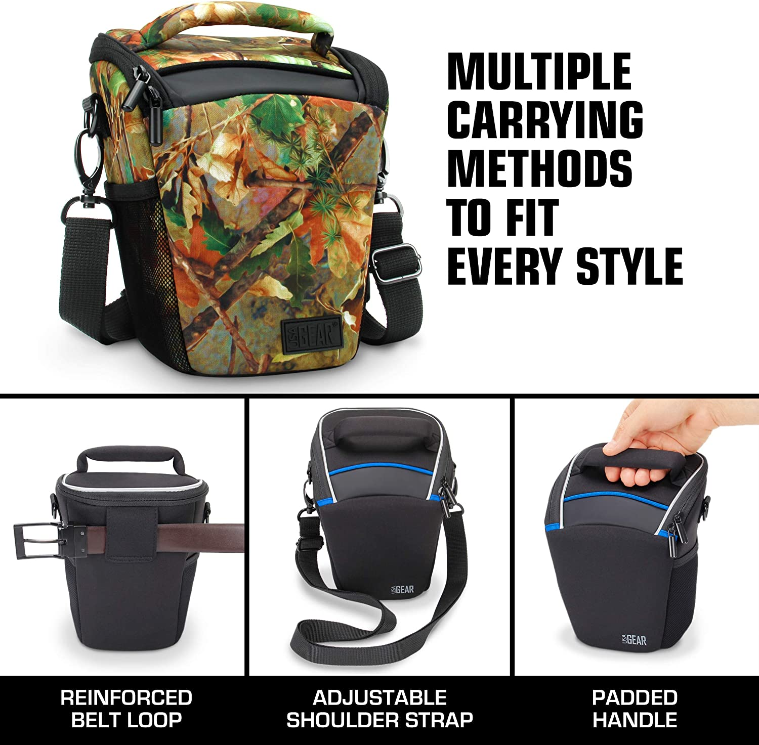 Weather Resistant Bottom Comfortable Southwest Durable and Light Weight for Travel Padded Handle with Top Loading Accessibility Adjustable Shoulder Sling USA Gear SLR Camera Case Bag