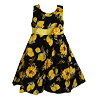Bidhan Girl's Cotton Dress with Bow (HAA5YL_26, Black and Yellow, 5-6 Years)
