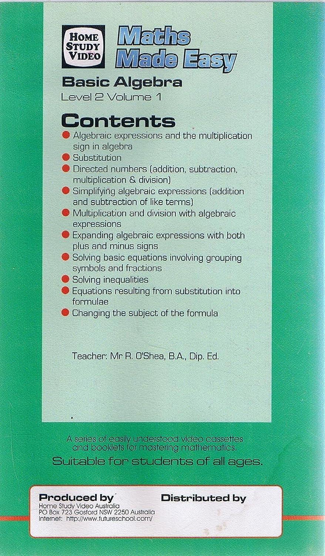 Maths Made Easy Basic Algebra Level 2 Volume 1 Mr R Oshea