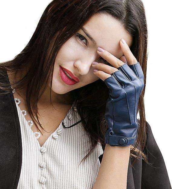 YISEVEN Femme Nouveau Hiver Mitaines Gants sans doigt en cuir peau de mouton agneau veritable demi doigts