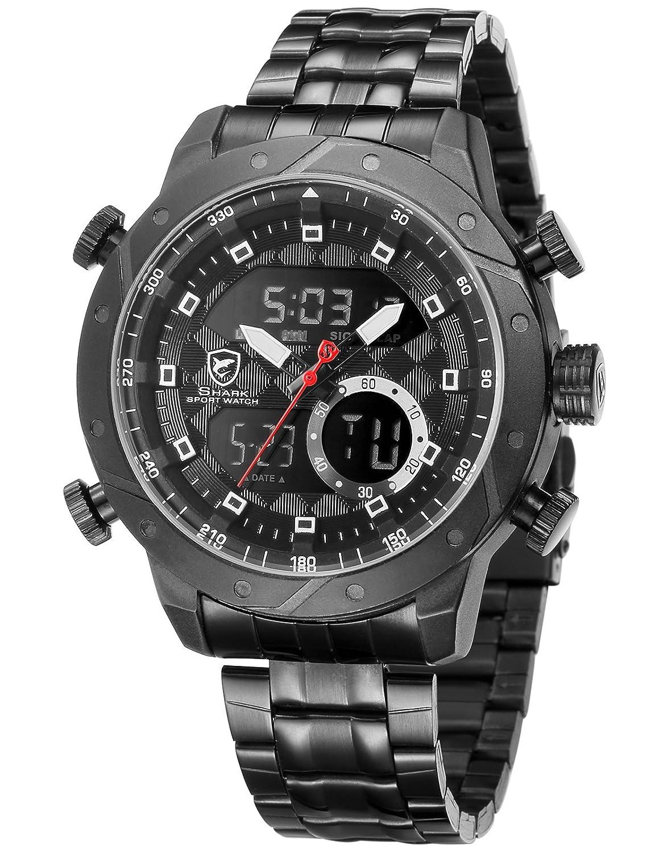 9c7e2d48e3fb SHARK hombre deportivos Cuarzo relojes de pulseras Acero inoxidable LCD  Cronógrafo Despertador SH591  Amazon.es  Relojes