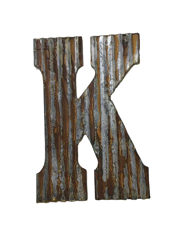 Farmhouse Rustic 24'' Wall Decor Corrugated Metal Letter K