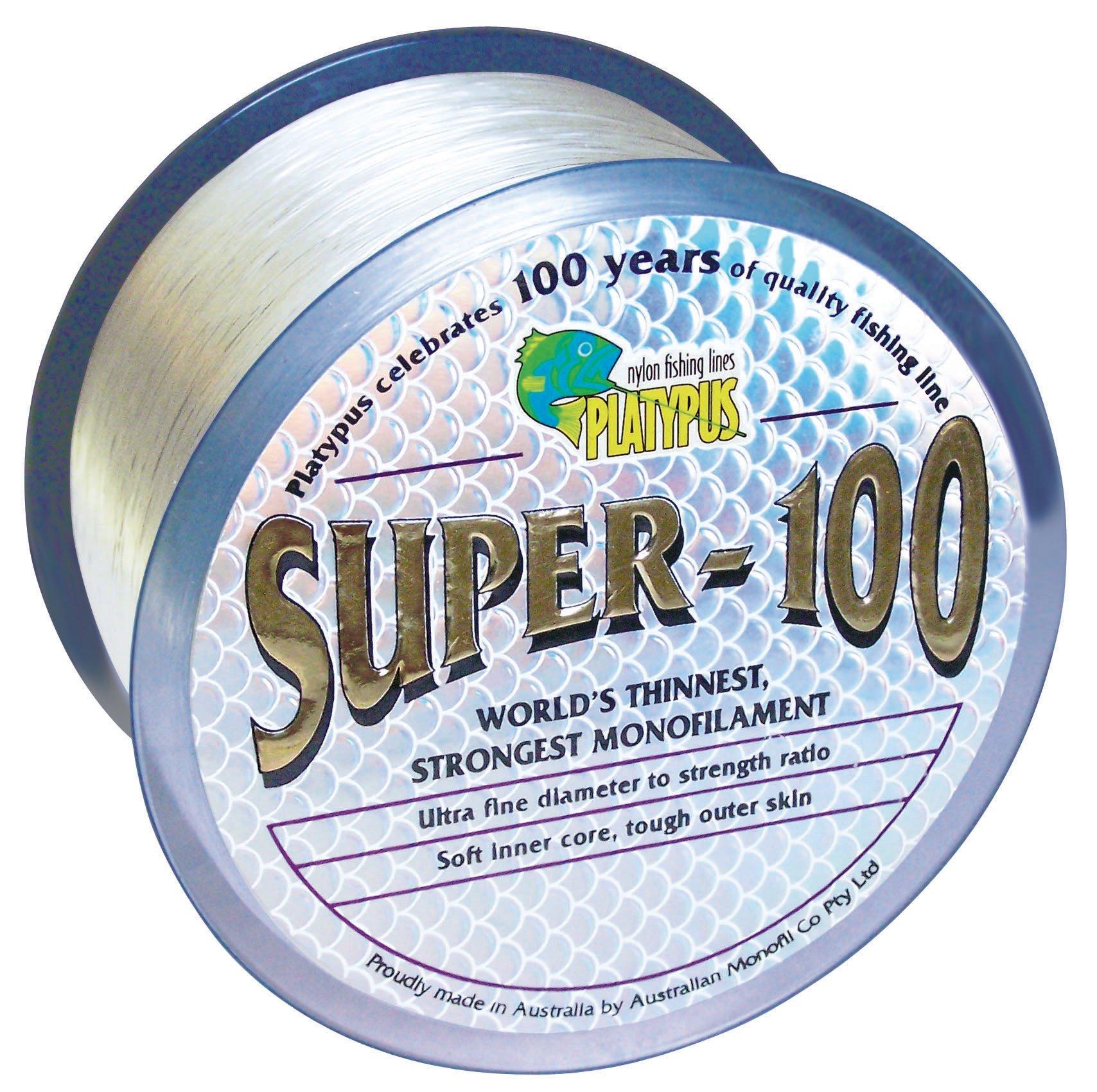 Platypus Super-100 - World's Strongest Fishing Line Since 1898! Clear (300m spool, 20 lb)
