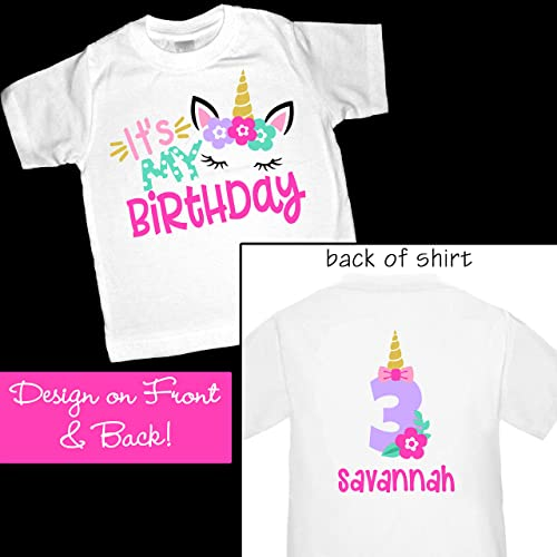 Amazon Adorable Personalized Unicorn Its My Birthday Shirt Or