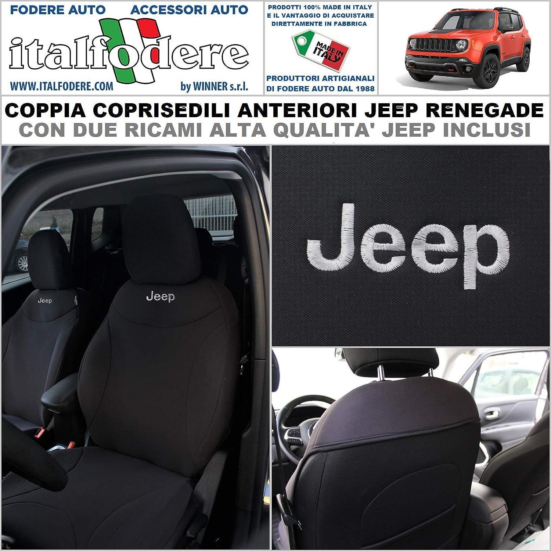 Coppia COPRISEDILI Renegade Loghi Jeep su Misura Fodere Foderine Anteriori Nero
