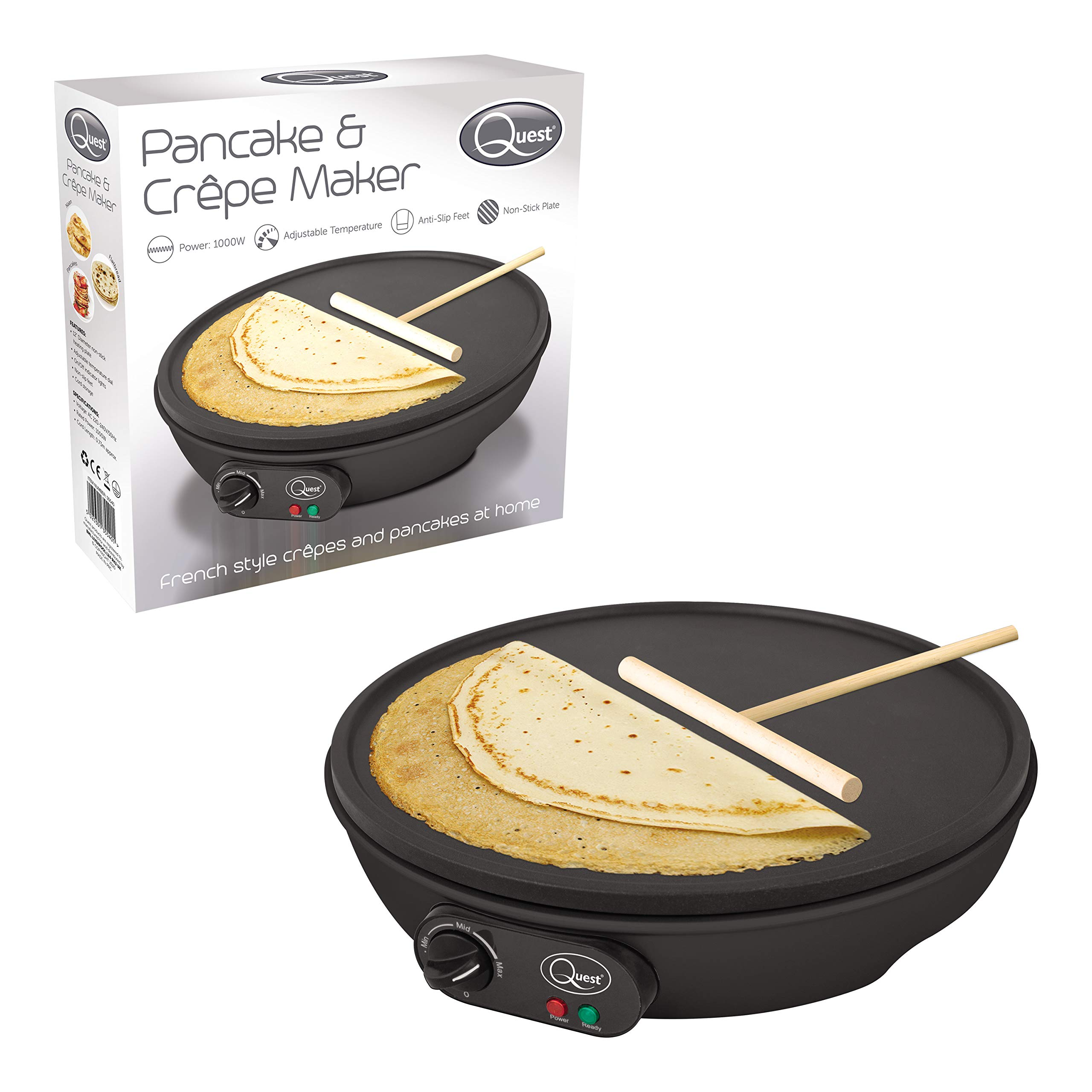 "Quest 35540 Electric Pancake & Crepe Maker / 12"" Non-Stick Hot Plate With Raised Edges For Reduced Wastage / Adjustable Temperature / Wooden Spreader & Spatula Included / 1000W"