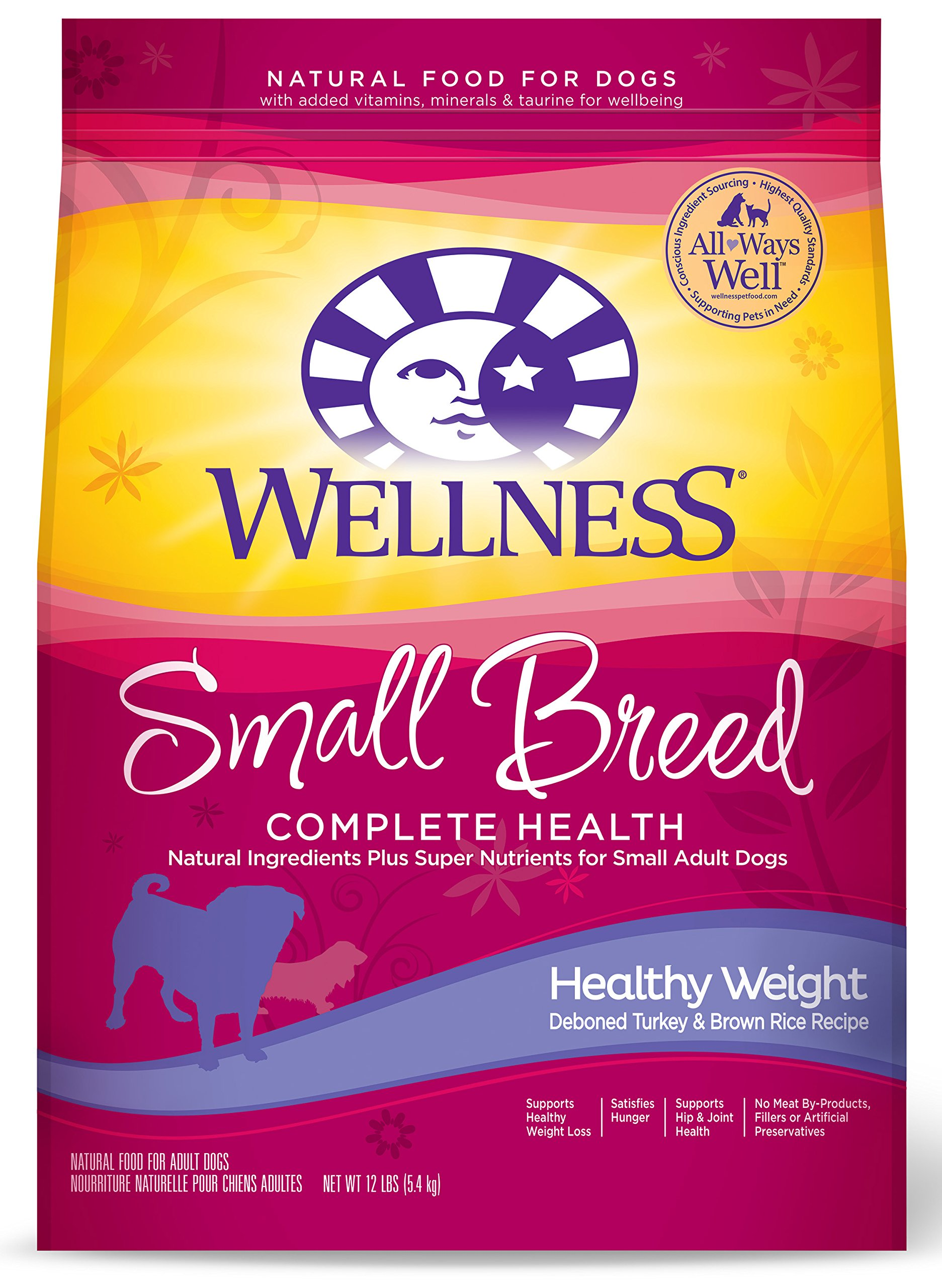 Wellness Complete Health Natural Dry Small Breed Healthy Weight Dog Food, Turkey & Rice, 12-Pound Bag by Wellness Natural Pet Food
