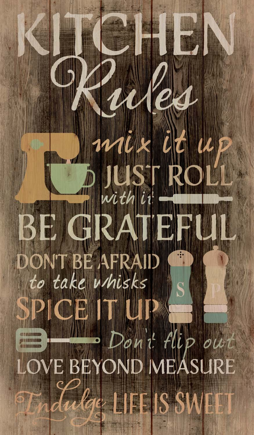 P. GRAHAM DUNN Kitchen Rules Distressed 24 x 14 Wood Pallet Wall Art Sign Plaque