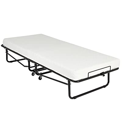 Best Choice Products Cot Size Folding Rollaway Guest Bed With Memory Foam Mattress Cot Easy Storage