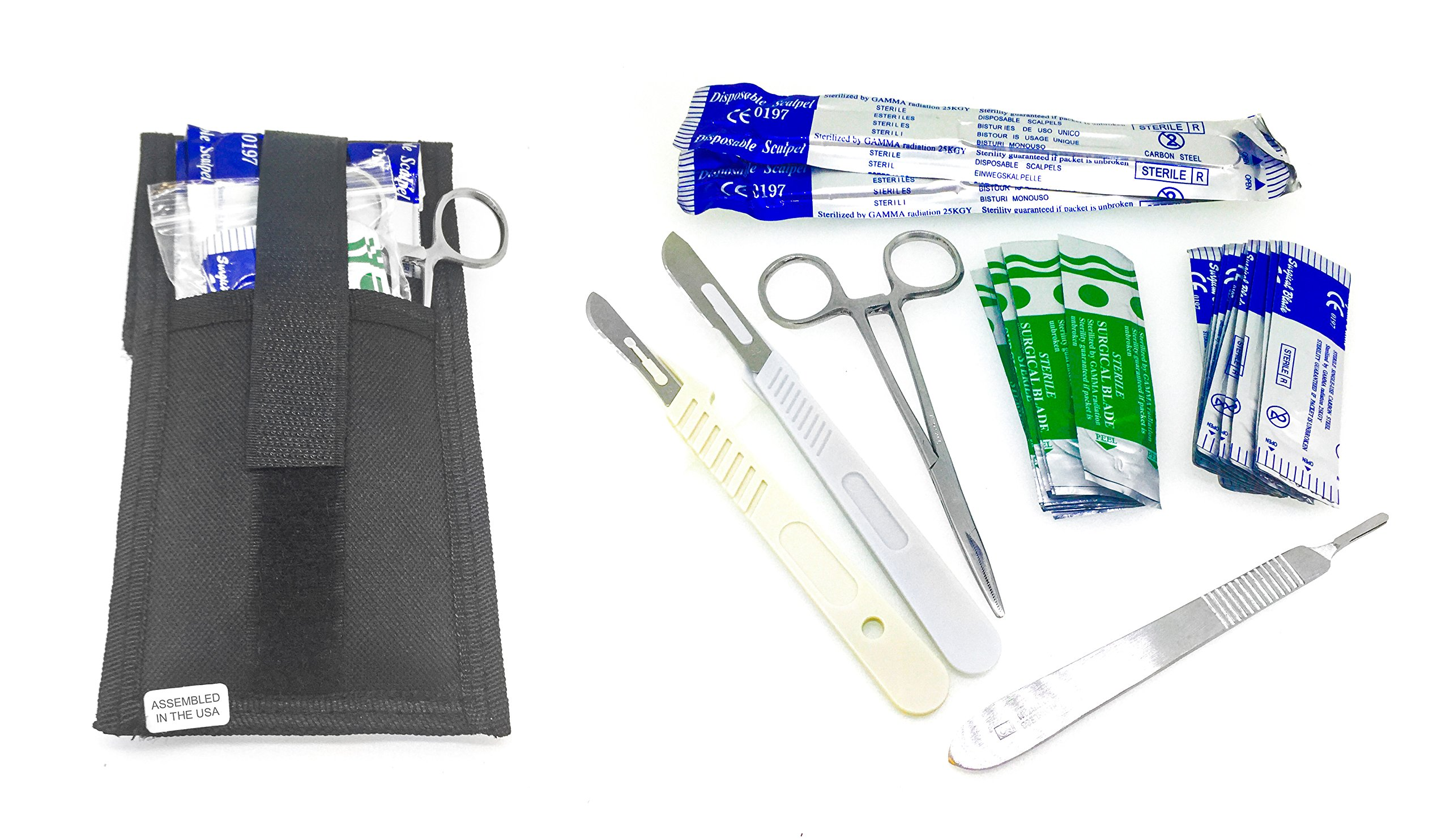 Dermaplaning Cleaning Kit - Disposable Scalpel Blades No. 22, 10 and 11 With Plastic, Metal Handle and Hemostat Blade Removal – Suitable for Dermaplaning and More - Sterile & Individually Foil Wrapped