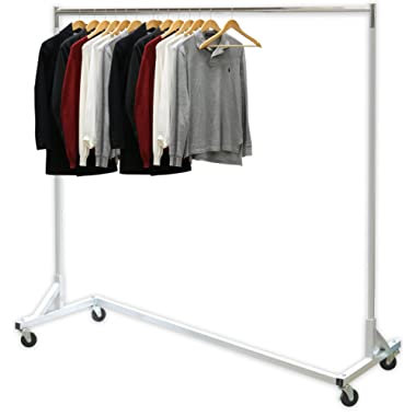 Simple Houseware Industrial Grade Z-Base Garment Rack, 400lb Load with 62  Extra Long bar